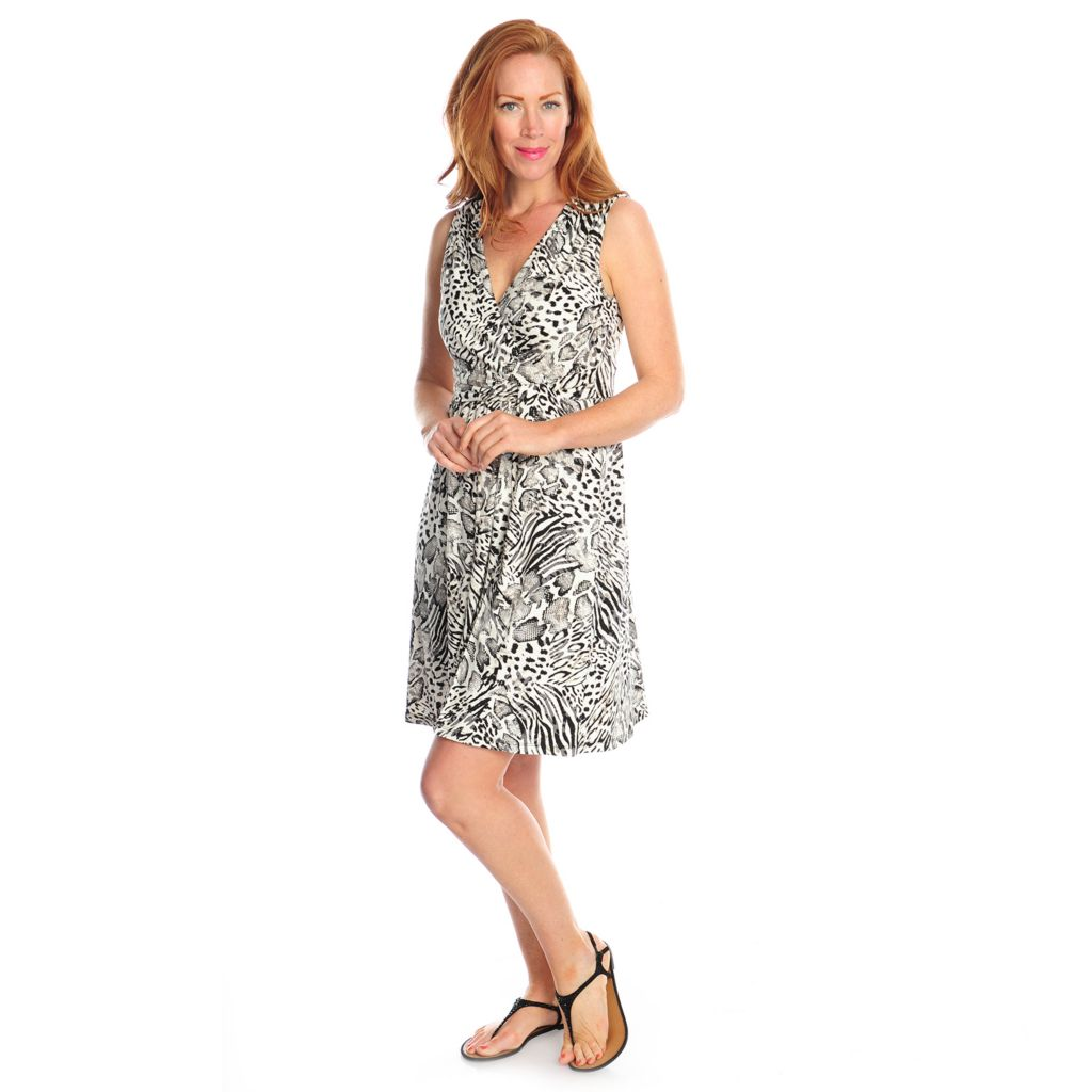 716-982 - Kate & Mallory Printed Knit Sleeveless Faux Wrap Flip Flop Dress