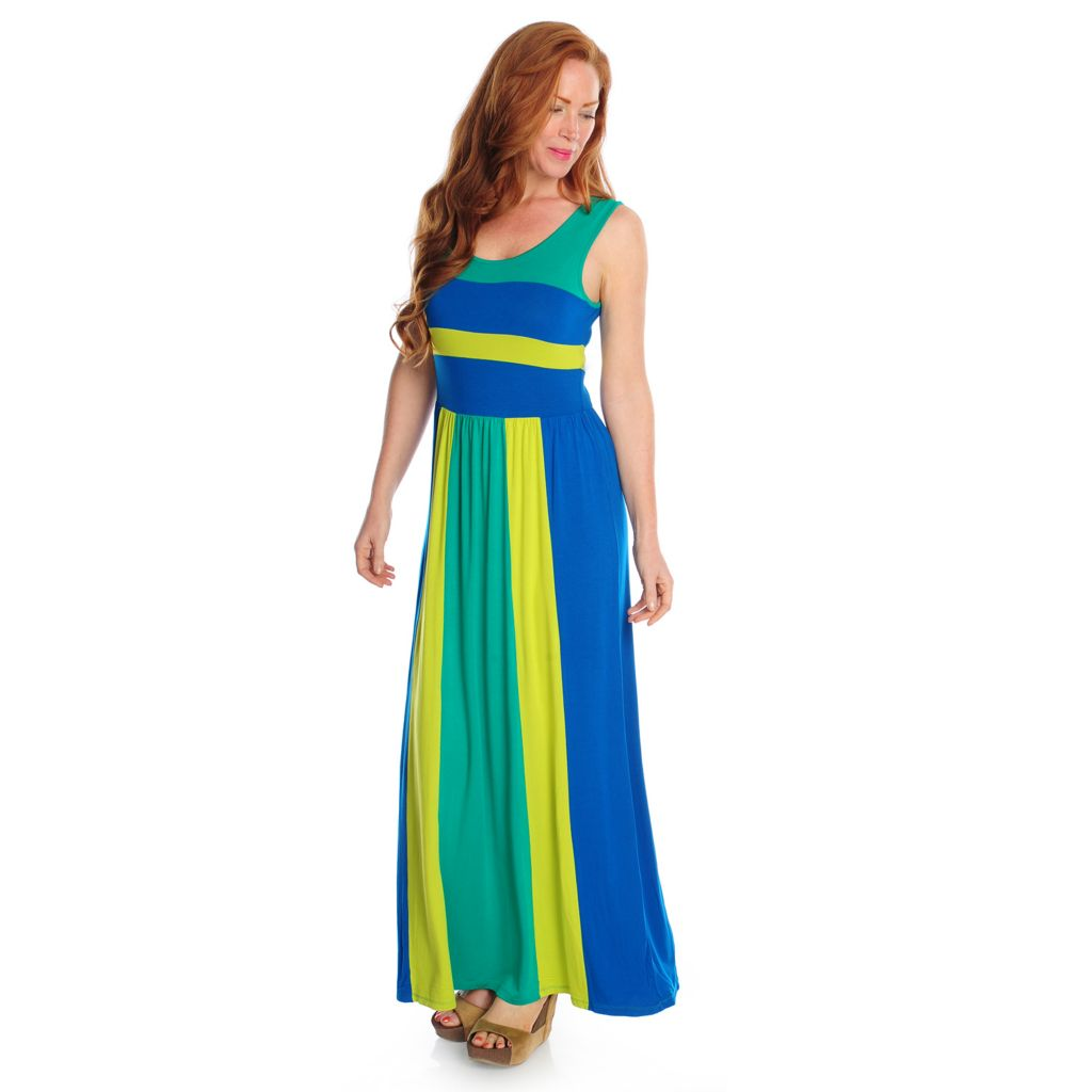 716-987 - Kate & Mallory Stretch Knit Sleeveless Color Blocked Maxi Dress