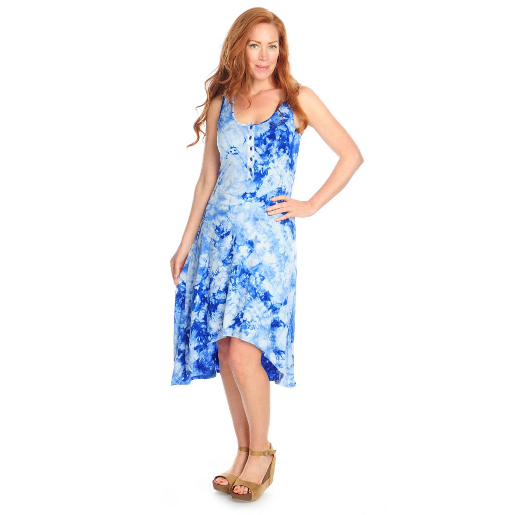 716-990 - Kate & Mallory Tie-Dyed Knit Sleeveless Button Front Hi-Lo Dress
