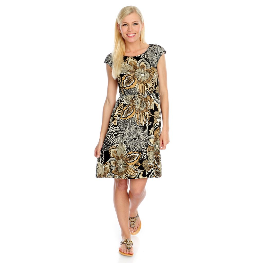 716-993 - Kate & Mallory Printed Knit Cap Sleeved Drawstring Waist Tunic Dress