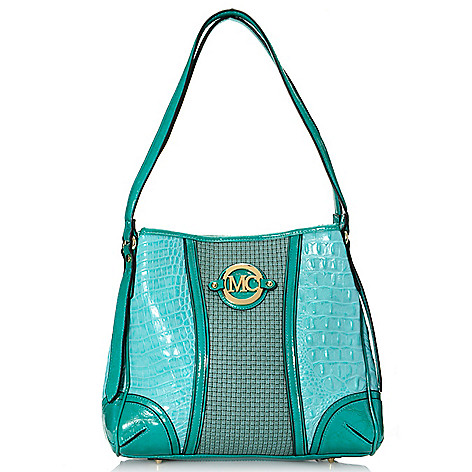 716-995 - Madi Claire ''Callie'' Croco Embossed Leather & Woven Design Convertible Shopper / Tote Bag