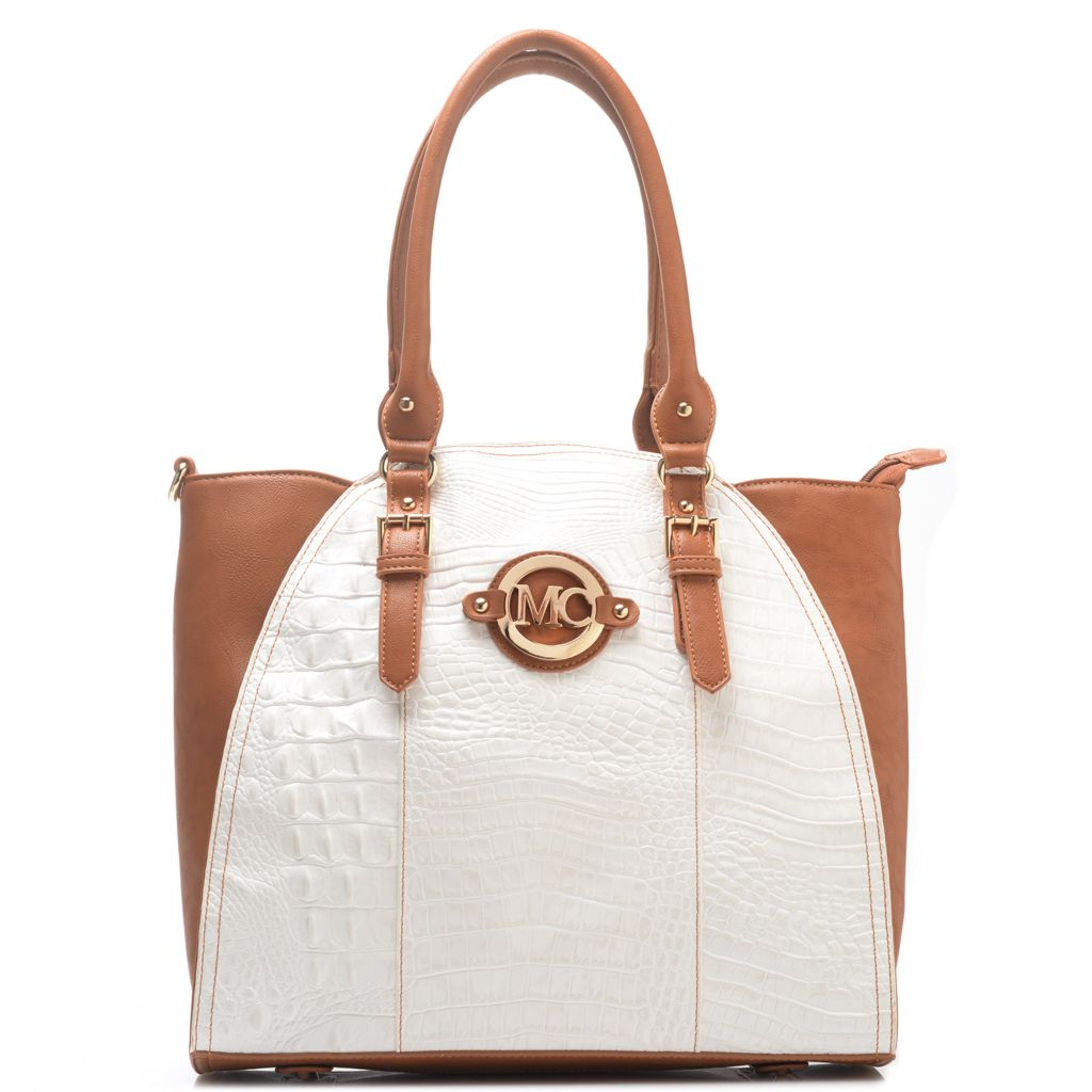 716-996 - Madi Claire Croco Embossed Leather Scalloped Shopper Handbag w/ Shoulder Strap