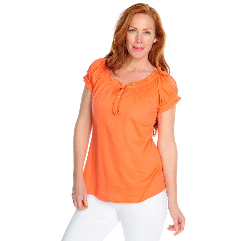 716-997 - OSO Casuals Pima Cotton Short Sleeved Tie-Neck Peasant Top