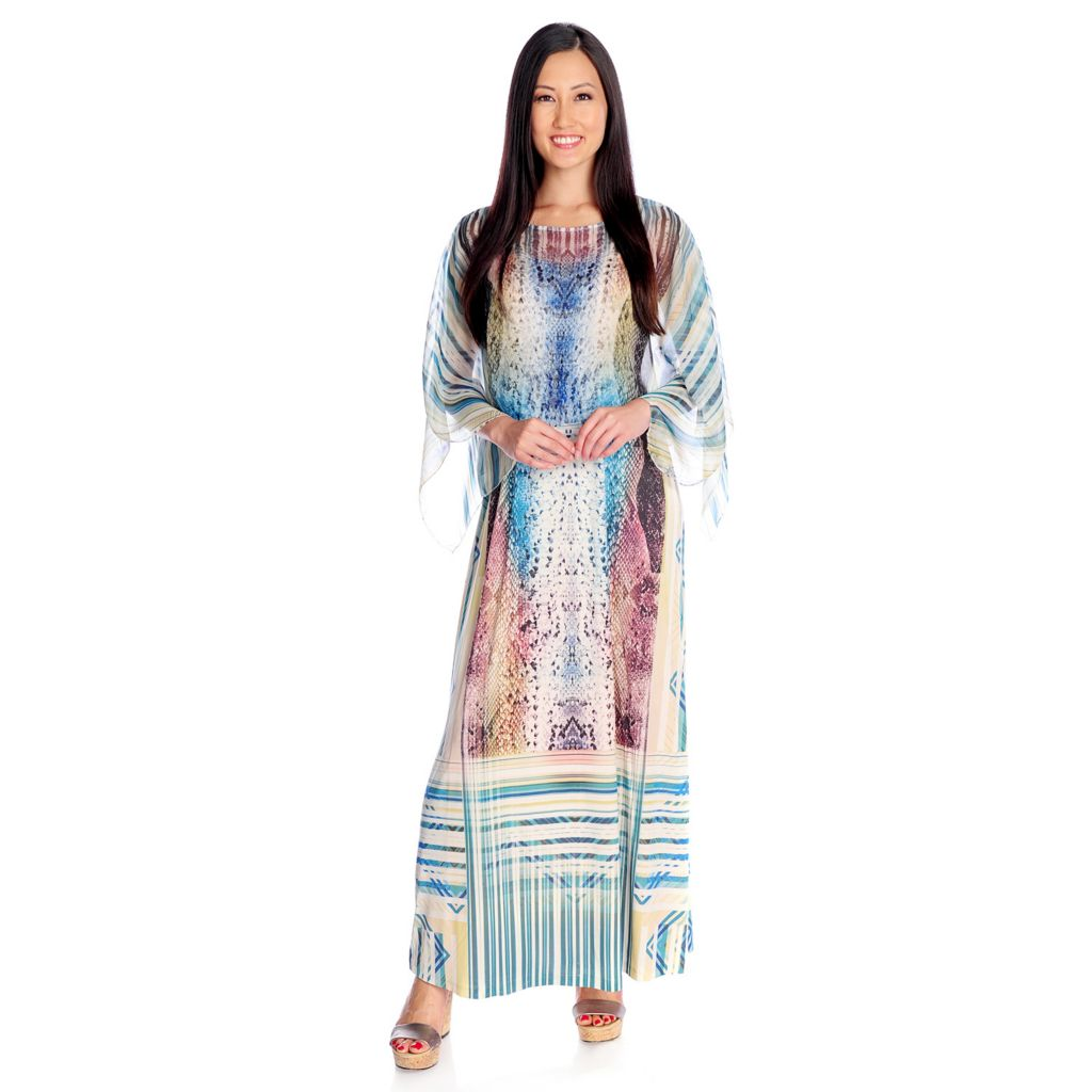 716-998 - One World Micro Jersey Poncho-Style Chiffon Overlay Printed Maxi Dress