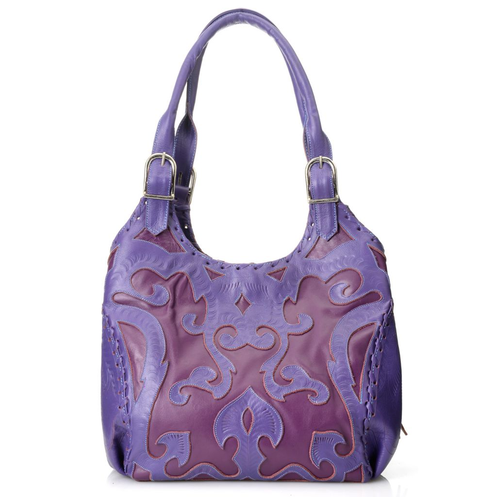 717-001 - Labrado™ Leather Hand-Tooled Cut-out Design Multi Compartment Expandable Satchel