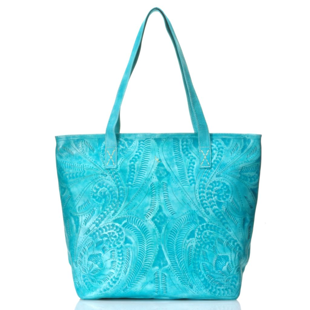 717-005 - Labrado™ Leather Hand-Tooled Distressed Double Handle Large Tote Bag