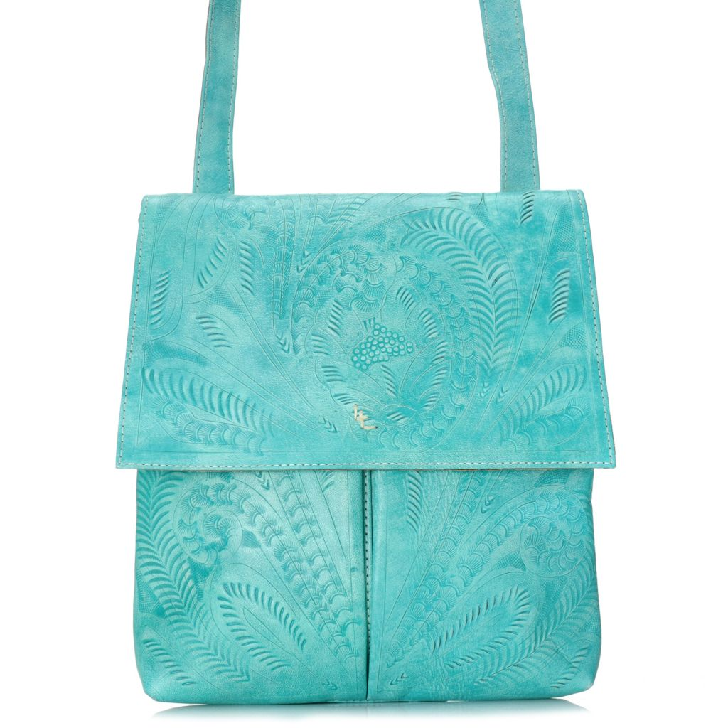717-010 - Labrado™ Leather Hand-Tooled Flap-over Cross Body Bag