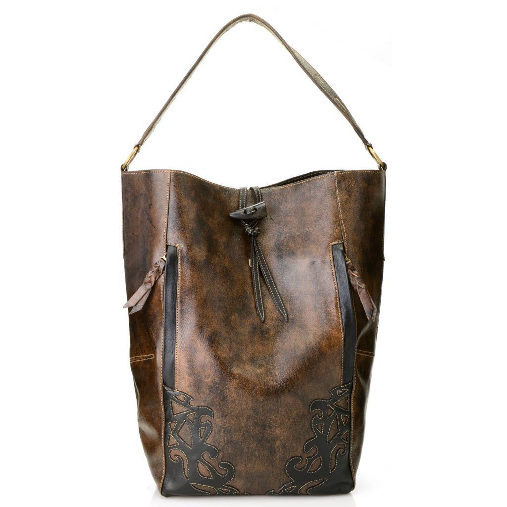 717-013 - Labrado™ Leather Distressed Cut-out Design Large North-South Hobo Handbag