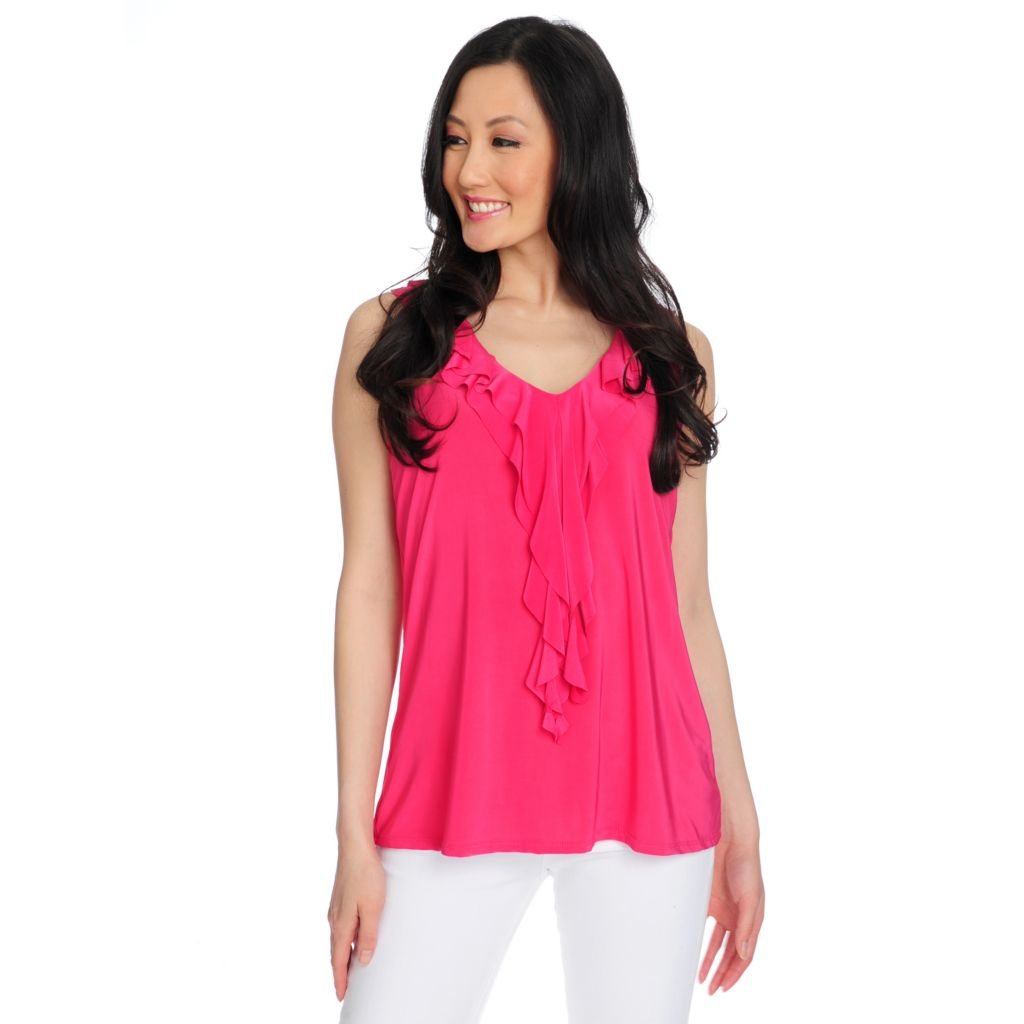 717-031 - Slim-A-Size Stretch Knit Everyday Control Ruffle Trimmed Tank Top