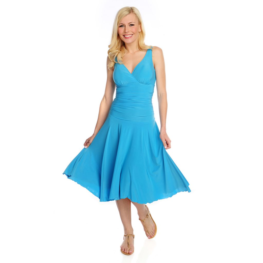 717-032 - Slim-A-Size Stretch Knit Everyday Control Sleeveless Ruched Waist Dress