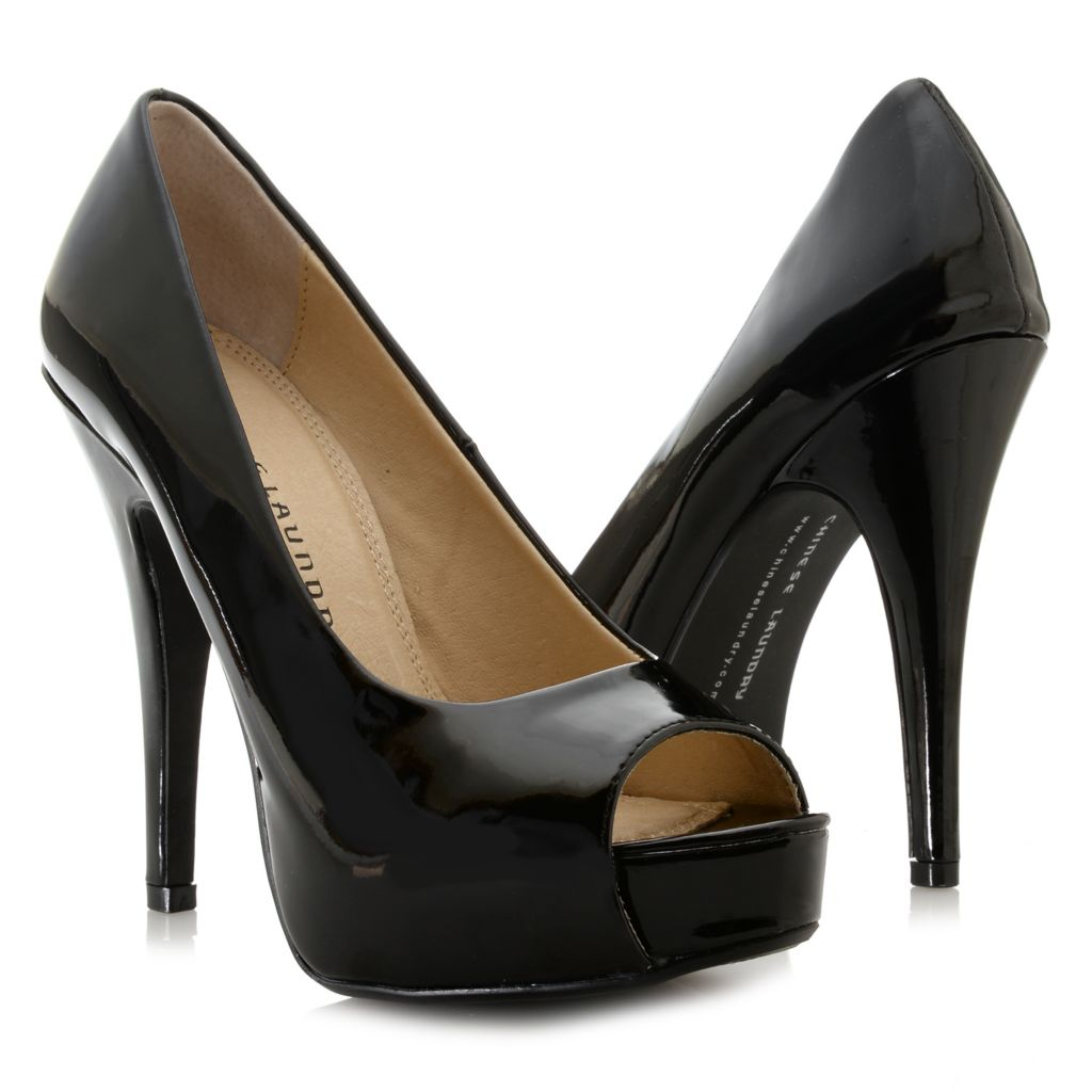 717-042 - Chinese Laundry Patent Finished Hidden Platform Peep Toe Pumps