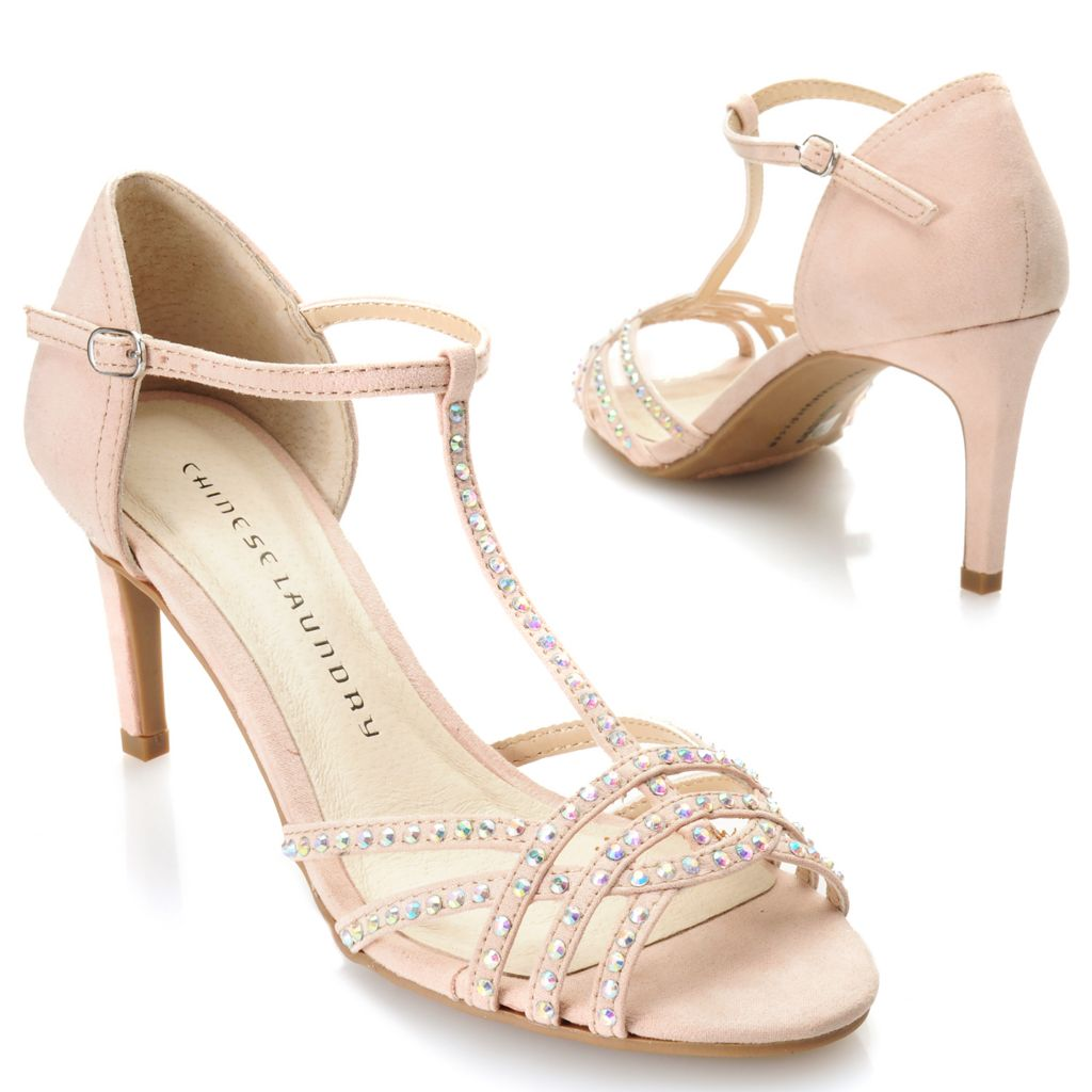 717-043 - Chinese Laundry Rhinestone Embellished T-Strap Pumps
