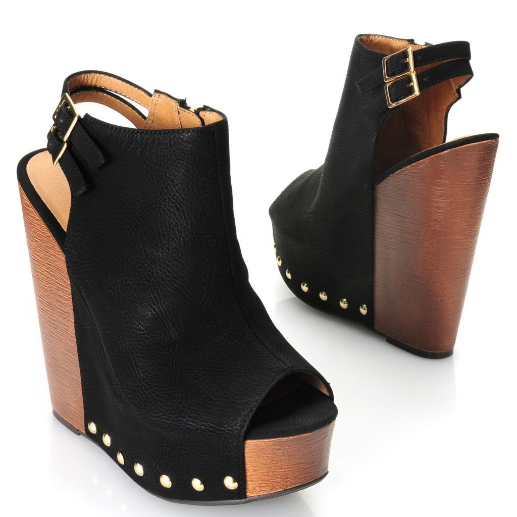 717-044 - Chinese Laundry Buckle Detailed Side Zip Studded Peep Toe Wedge Heels