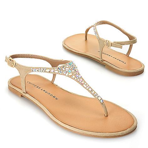 717-050 - Chinese Laundry Rhinestone Embellished Thong Sandals w/ Heel Strap