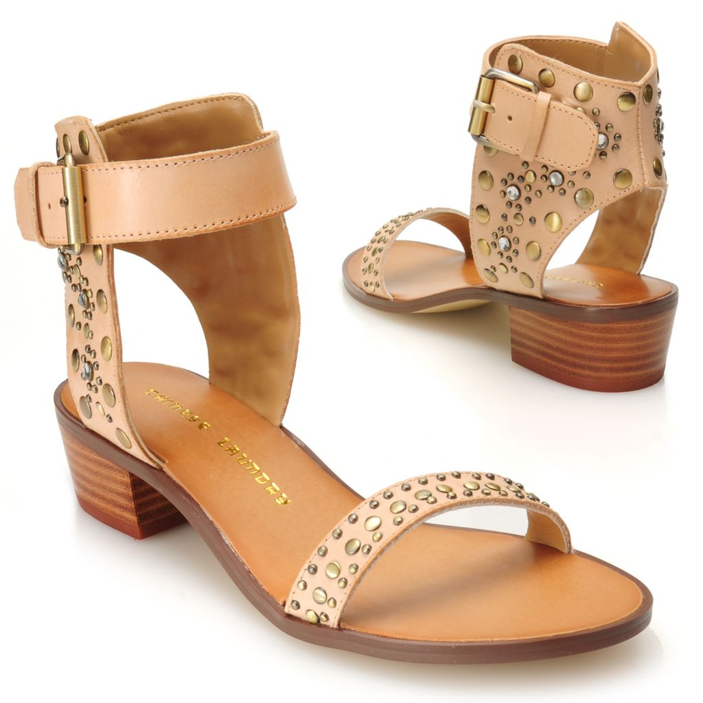 717-051 - Chinese Laundry Leather Studded Buckle Detailed Ankle Strap Sandals
