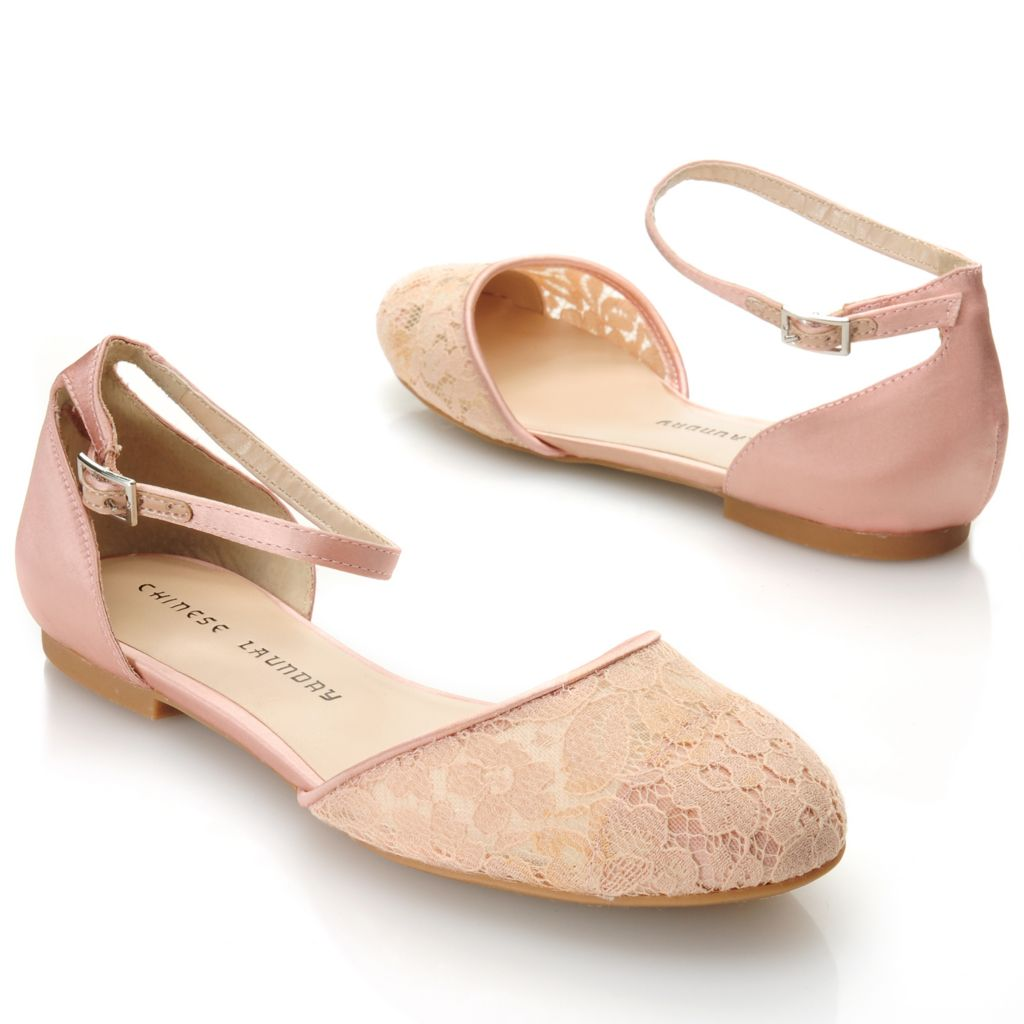 717-053 - Chinese Laundry Satin & Lace Ankle Strap Ballet Flats