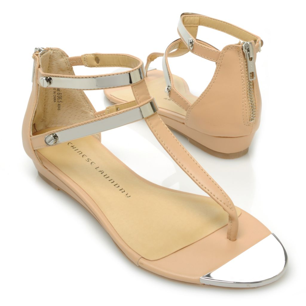 717-054 - Chinese Laundry Strappy Back Zip Thong Sandals