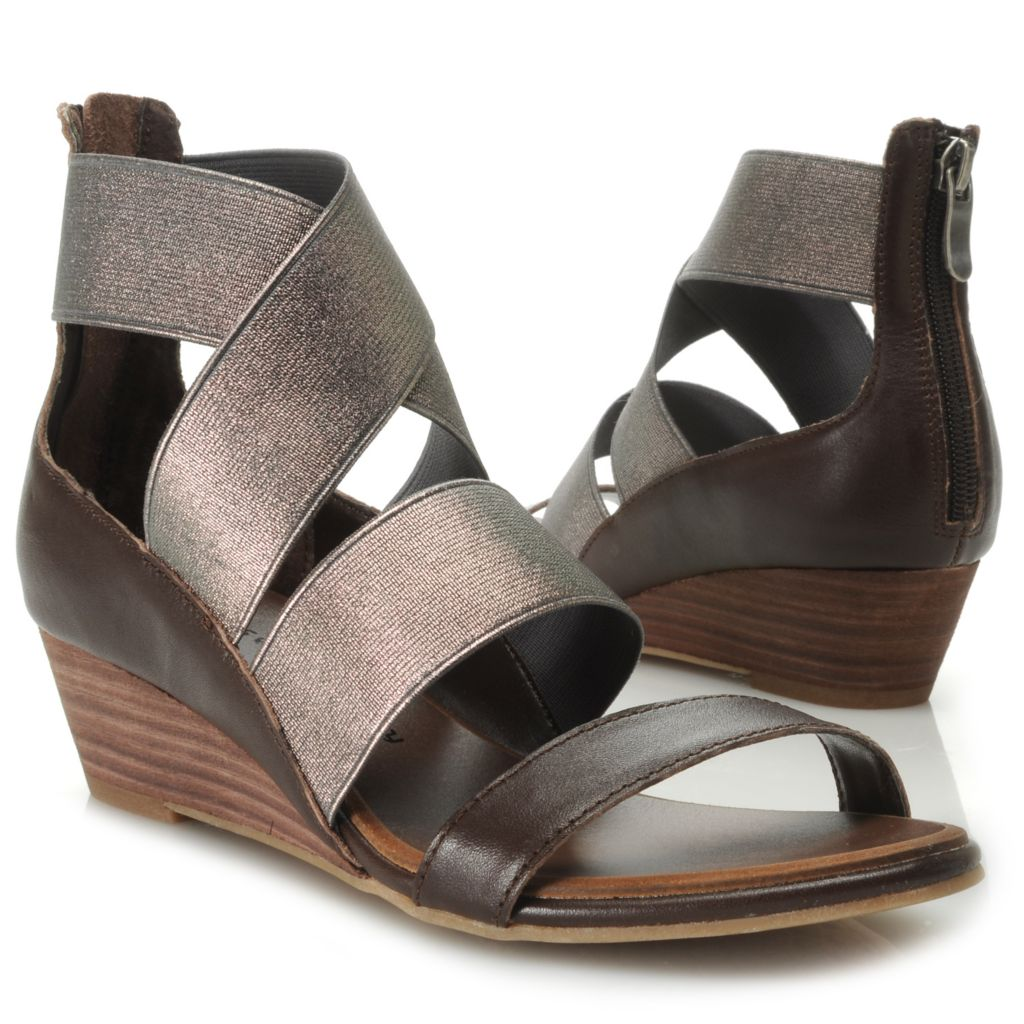 717-055 - Chinese Laundry Elastic Crisscross Back Zip Wedge Sandals