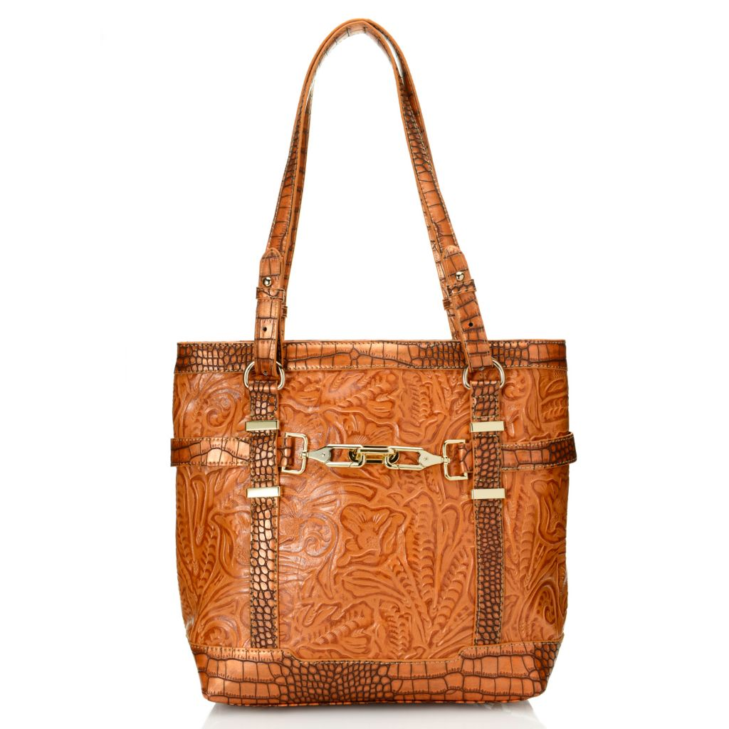 717-057 - Madi Claire Croco & Tool Embossed Leather Double Handle Belted Tote Bag