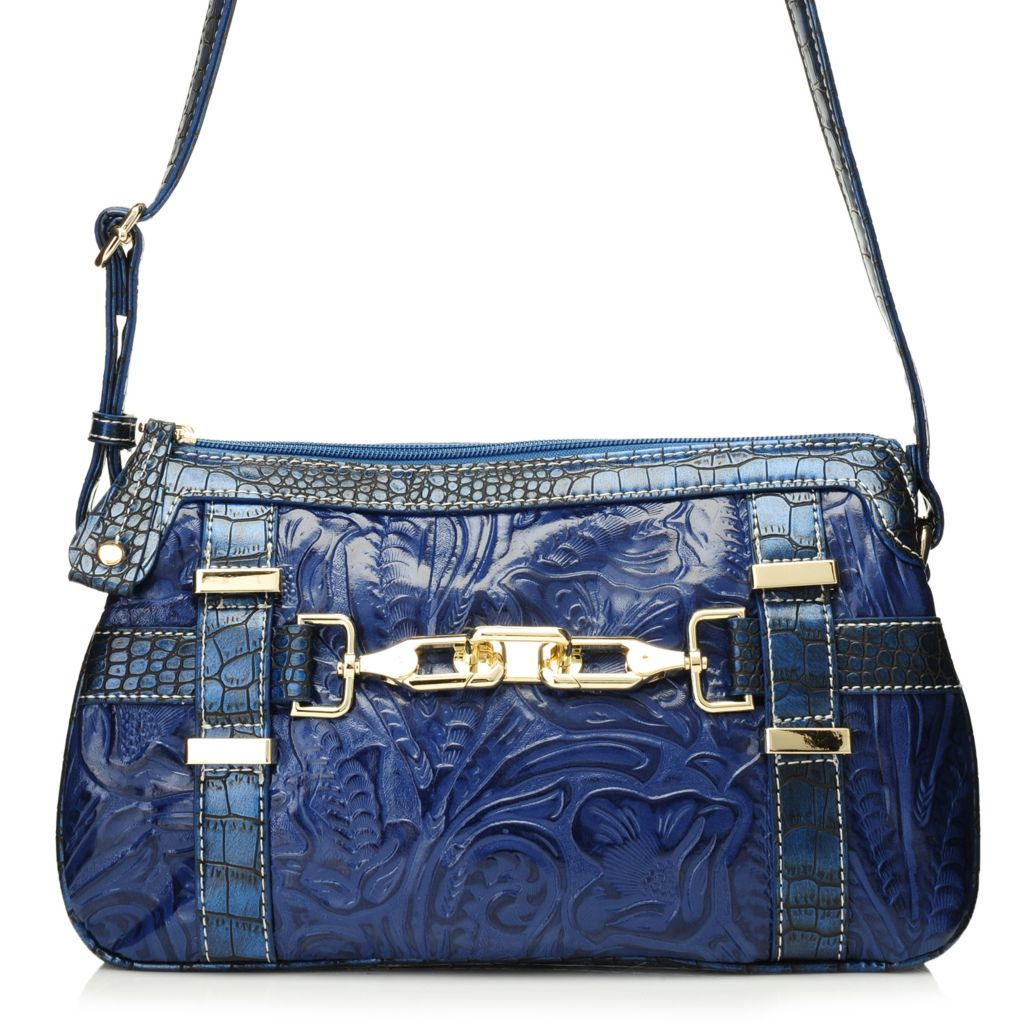 717-059 - Madi Claire Croco & Tool Embossed Leather Accordion-Style Cross Body Bag