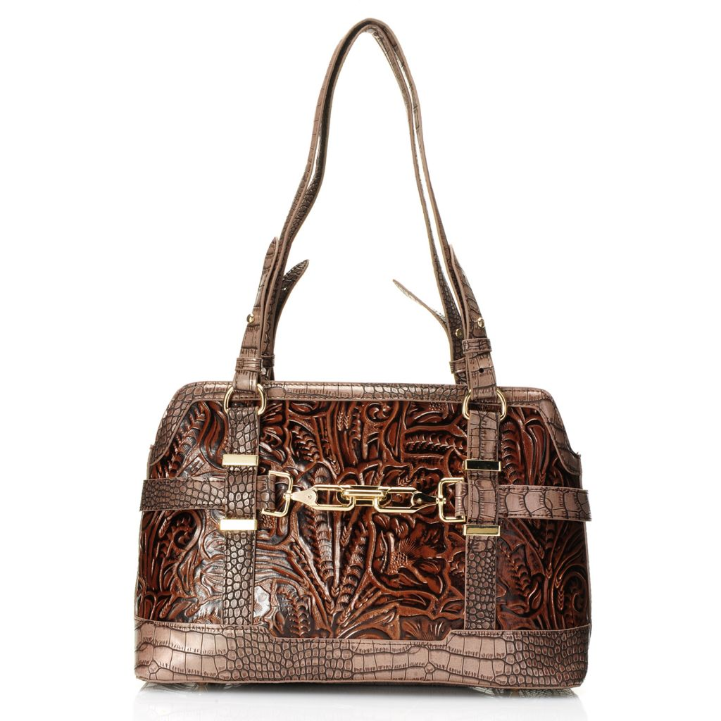 717-061 - Madi Claire Croco & Tool Embossed Leather Double Handle Belted Satchel