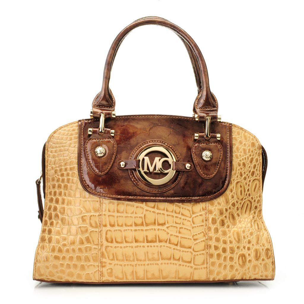 717-065 - Madi Claire Croco Embossed Leather Double Handle Dome Satchel w/ Strap
