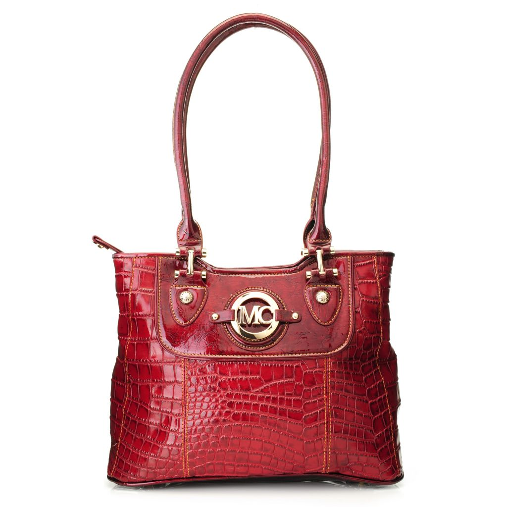 717-067 - Madi Claire Croco Embossed Leather Double Handle Zip Top Tote Bag
