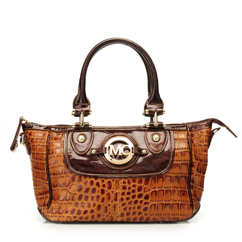 717-069 - Madi Claire Croco Embossed Leather Double Handle East-West Satchel w/ Strap