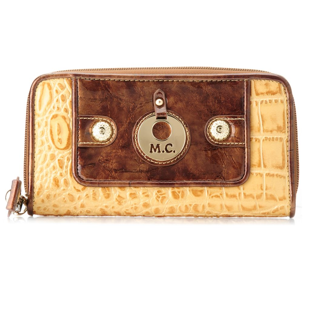 717-071 - Madi Claire Croco Embossed Leather Zip Around Logo Wallet