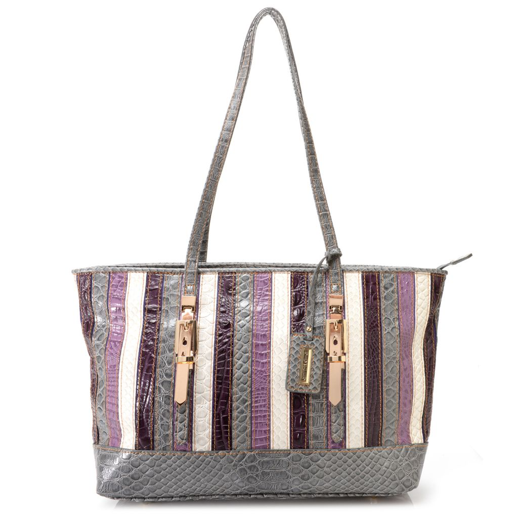 717-073 - Madi Claire Reptile Embossed Multi Color Striped Zip Top East-West Tote Bag