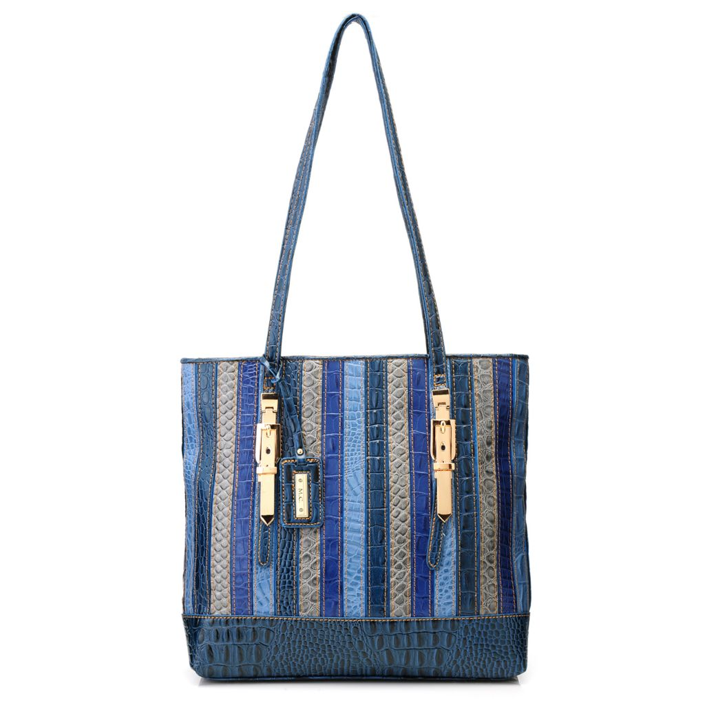717-077 - Madi Claire Croco Embossed Multi Color Striped Zip Top Tote Bag