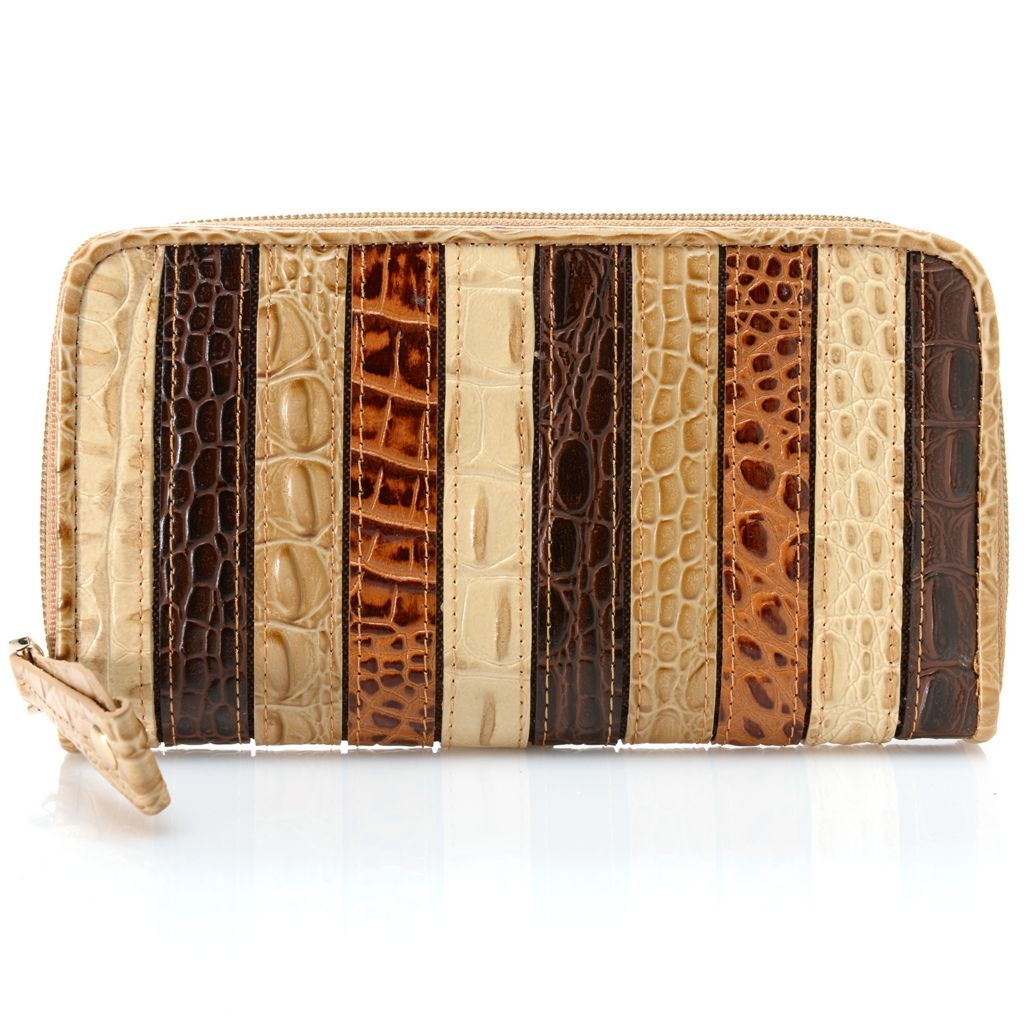 717-079 - Madi Claire Croco Embossed Leather Multi Color Striped Zip Around Wallet