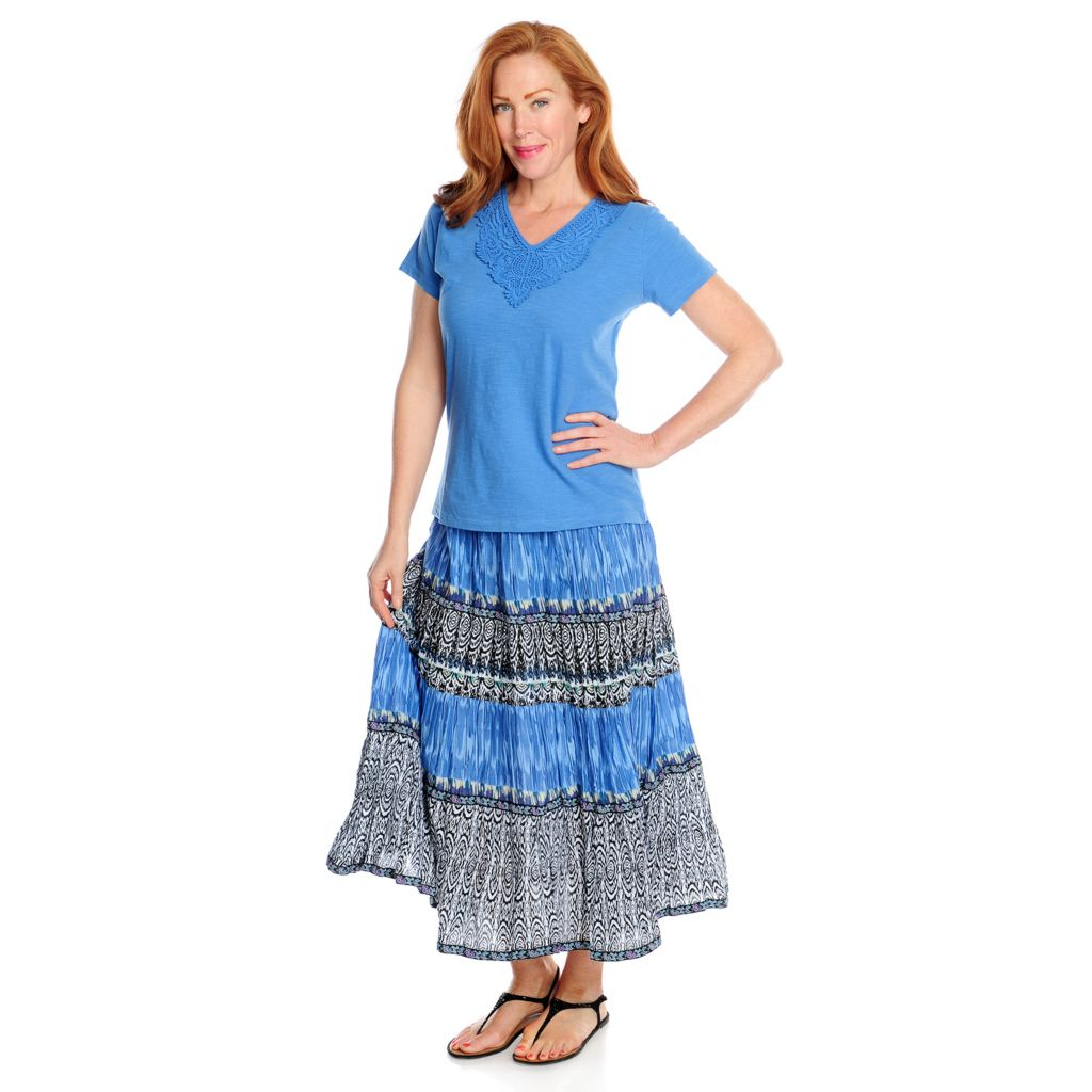 717-081 - OSO Casuals Cotton Knit Short Sleeved Crochet Trim Top & Gauze Skirt Set