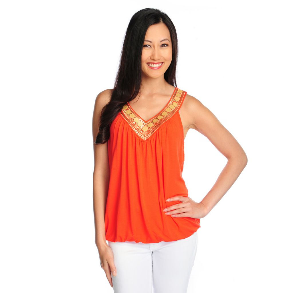 717-082 - Glitterscape Stretch Knit Matte Sequined Embellished V-Neck Tank