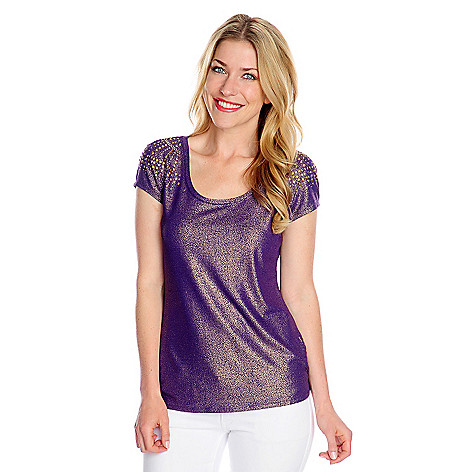 717-083 - Glitterscape Stretch Knit Cap Sleeved Mixed Stud Detail Foil Printed Top