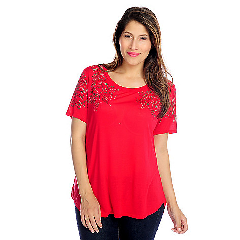 717-084 - Glitterscape® Stretch Knit Short Sleeved Embellished Georgette Hem Top