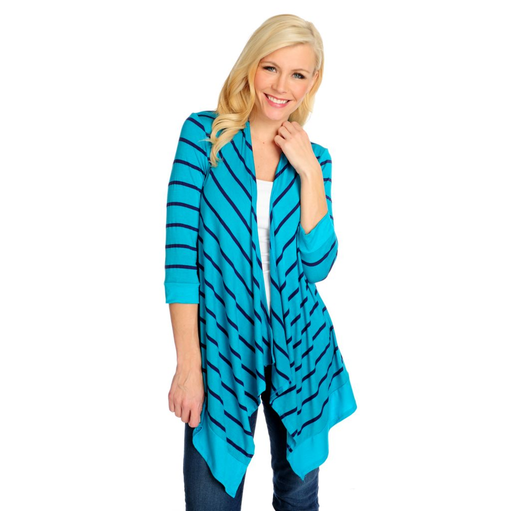 717-085 - OSO Casuals Stretch Knit 3/4 Sleeved Draped Front Striped Cardigan