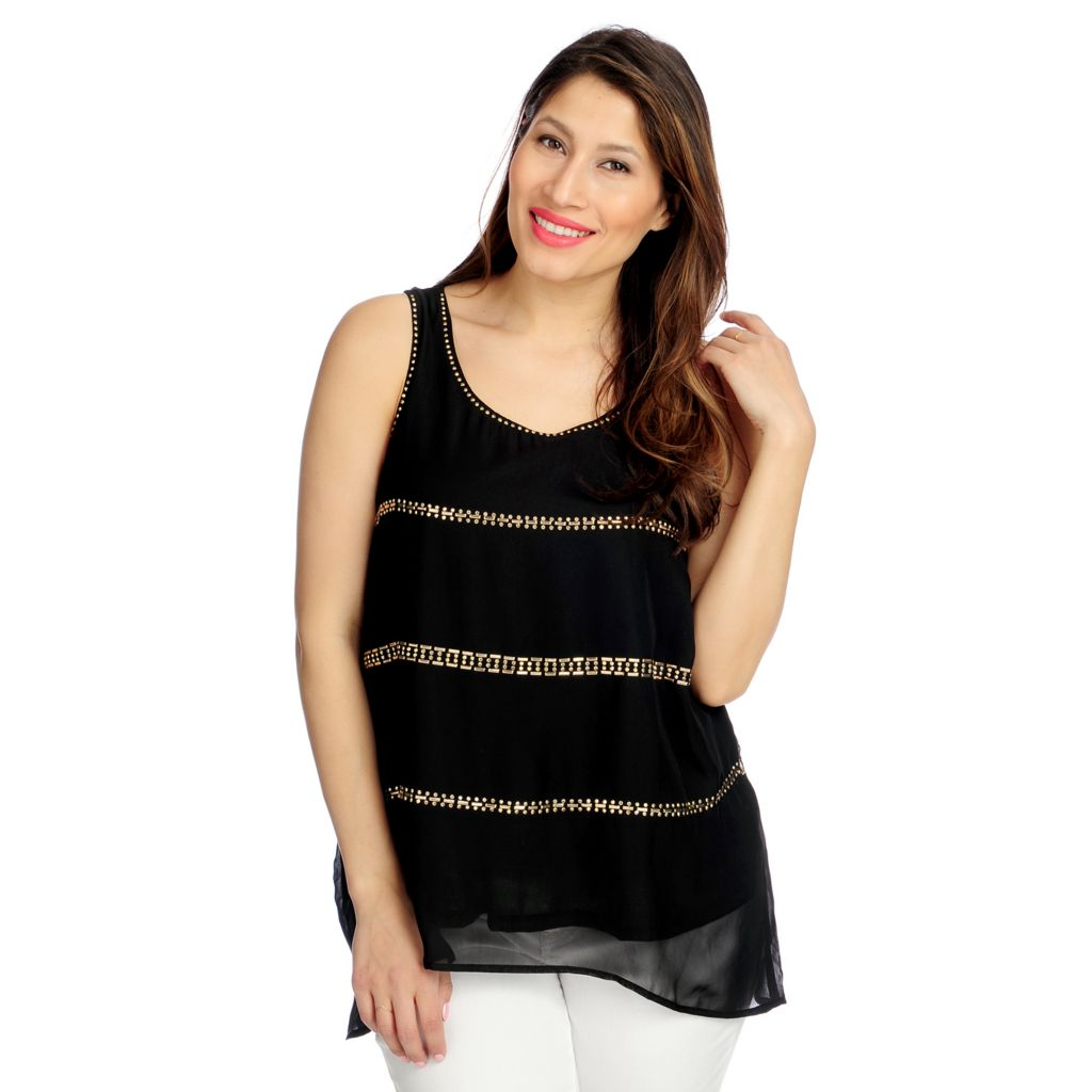 717-088 - Glitterscape Chiffon Zipper Detail Fully Lined Embellished Tank