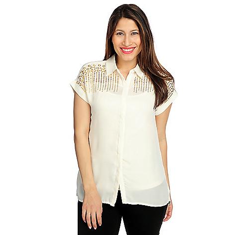 717-089 - Glitterscape® Georgette Dolman Sleeved Hidden Placket Embellished Blouse