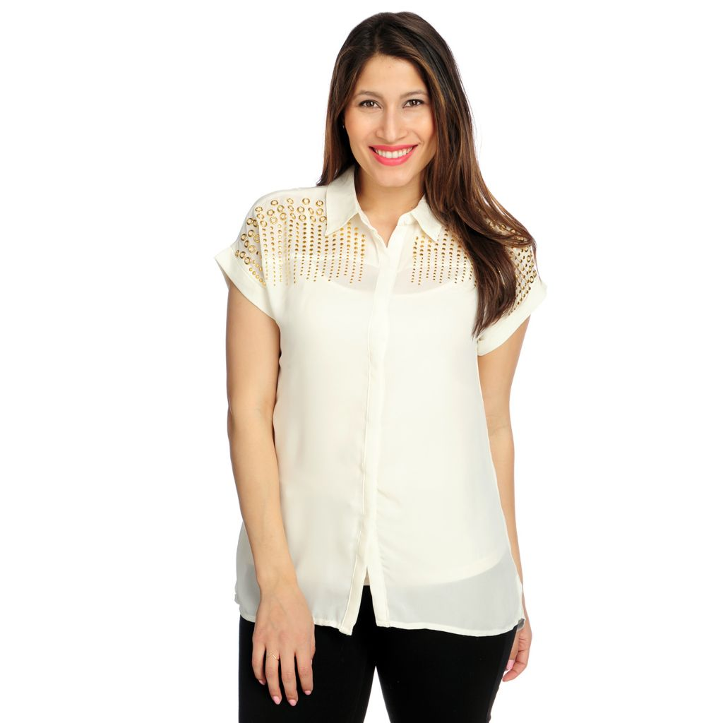 717-089 - Glitterscape Georgette Dolman Sleeved Hidden Placket Embellished Blouse