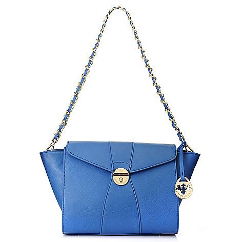 717-090 - PRIX DE DRESSAGE Saffiano Leather Chain Link Strap Push Lock Shoulder Bag