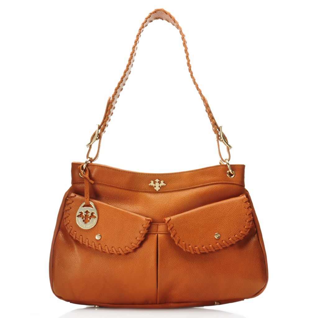 717-096 - PRIX DE DRESSAGE Pebbled Leather Whip Stitched Hobo Handbag w/ Cross Body Strap