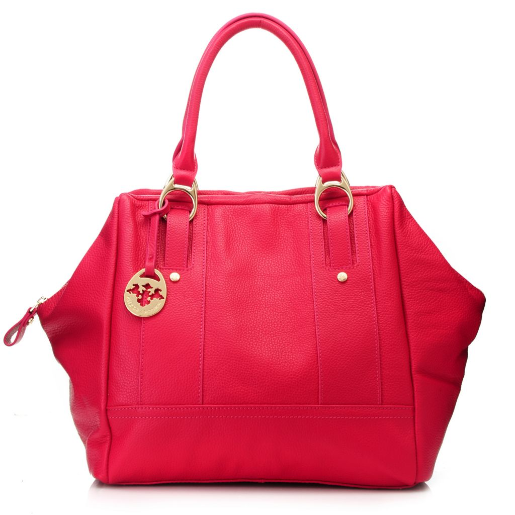 717-097 - PRIX DE DRESAGE Pebbled Leather Double Handle Shopper Handbag w/ Shoulder Strap