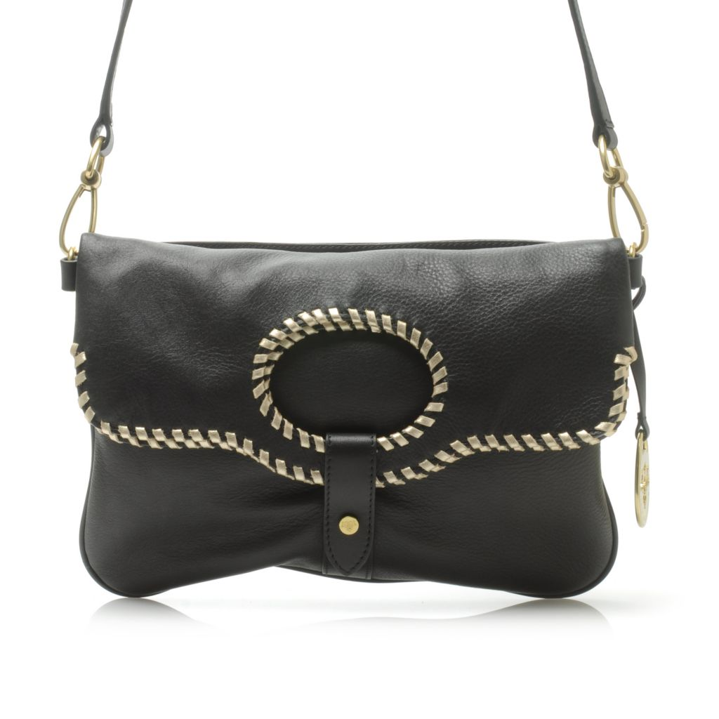 717-100 - PRIX DE DRESSAGE Smooth Leather Whip-Stitched Convertible Clutch or Cross Body Bag