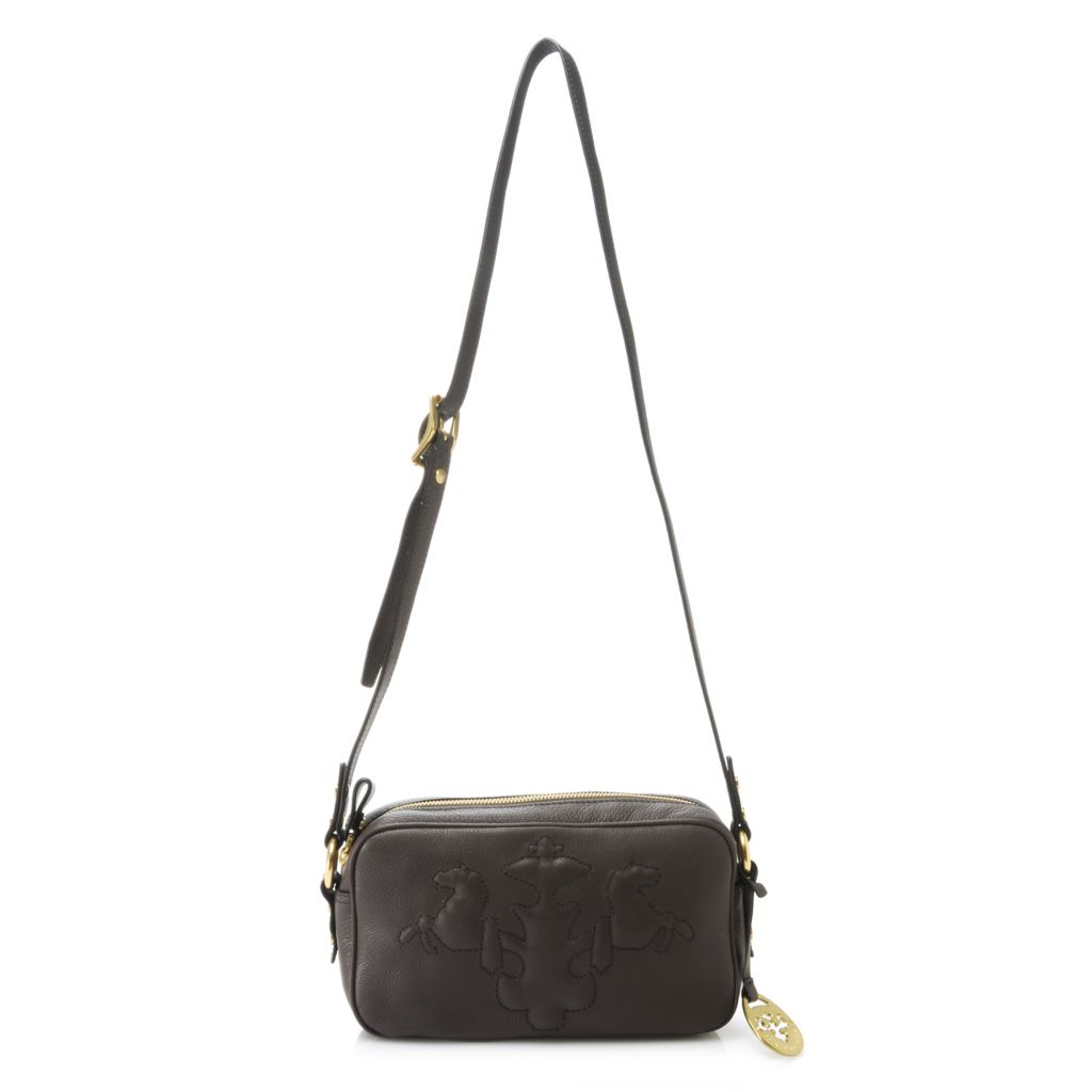 717-102 - PRIX DE DRESSAGE Pebbled Leather Trapunto Stitched Logo Zip Top Cross Body Bag