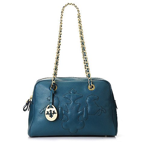 717-103 - PRIX DE DRESSAGE Pebbled Leather Trapunto Stitched Logo Chain Handle Shoulder Bag