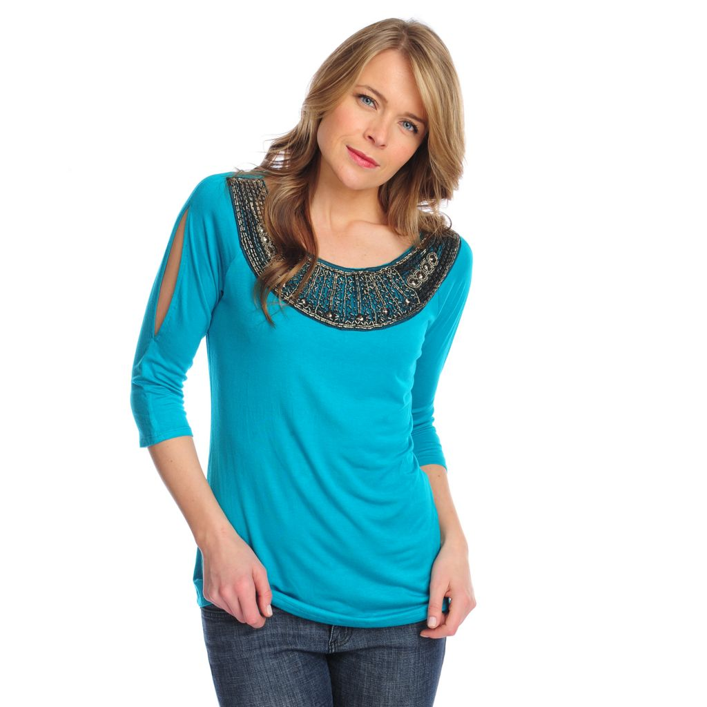 717-104 - Glitterscape Stretch Knit 3/4 Sleeved Embellished Neck Cold Shoulder Top