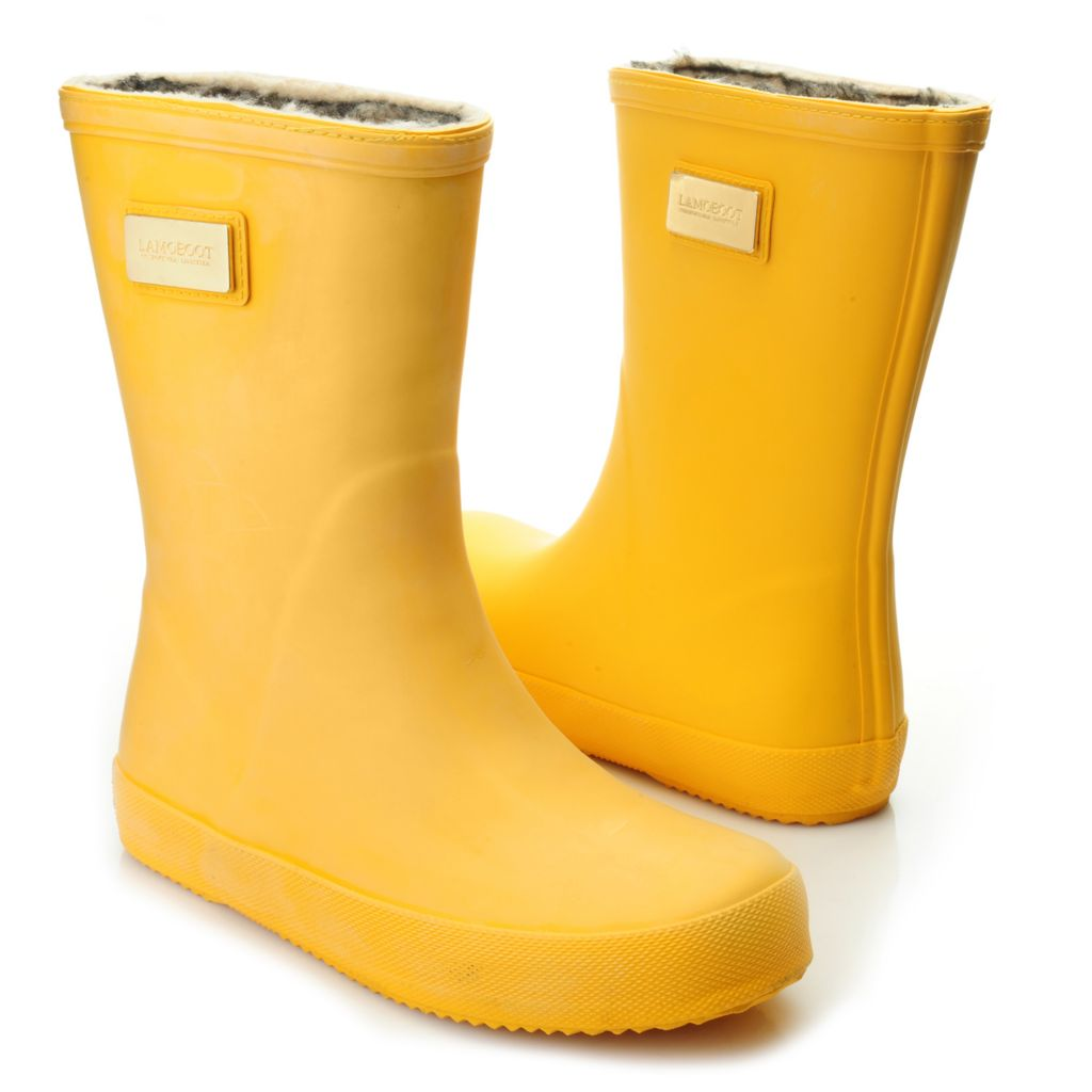 717-105 - Lamo® Rubber Faux Fur Lined Water Resistant Slip-on Mid-Calf Rain Boots
