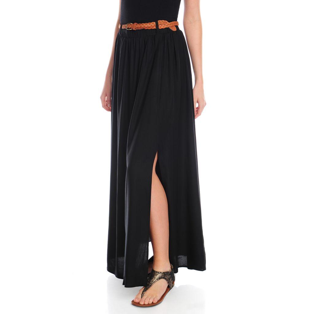 717-109 - Kate & Mallory Woven Elastic Waist Maxi Skirt w/ Braided Belt