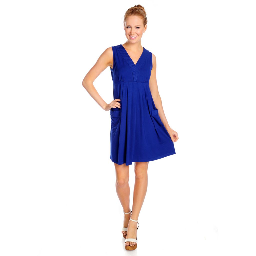717-111 - Kate & Mallory Stretch Knit Sleeveless Two-Pocket Flip Flop Dress